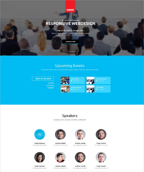 events wordpress php theme