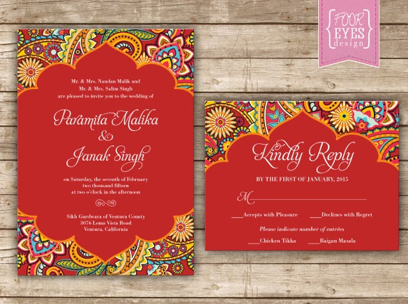 indian traditional theme wedding invitation
