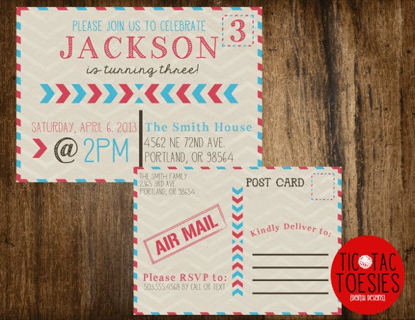 front and back birthday postcard template