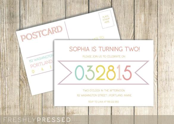 letterpress custom birthday invitation postcard