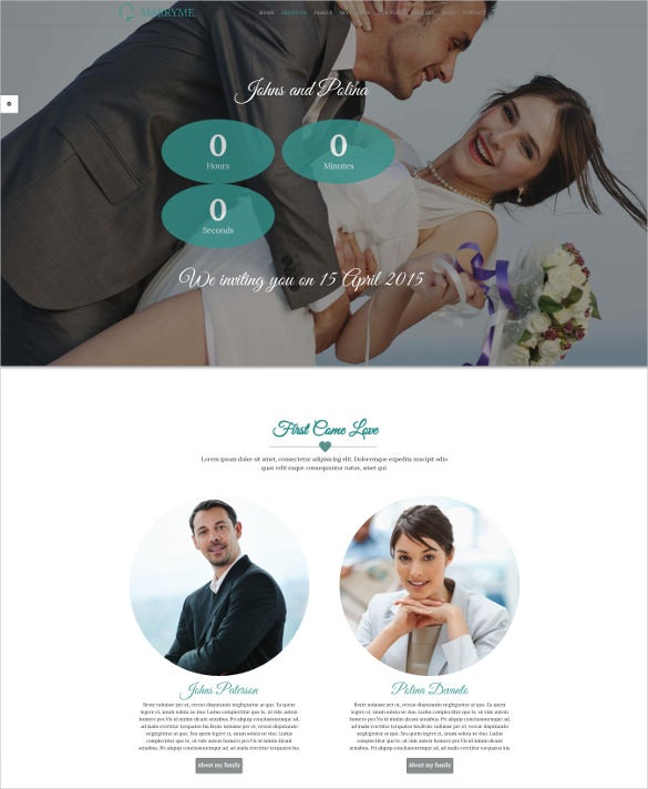 clean flat responsive wedding php theme