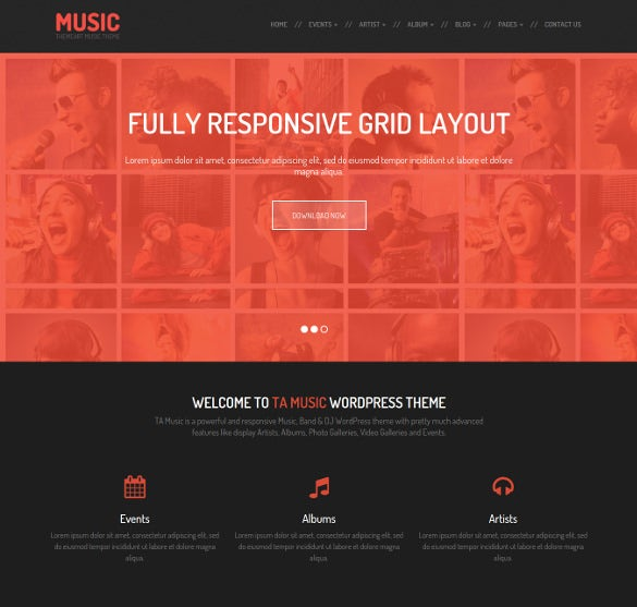 free music event wordpress php theme