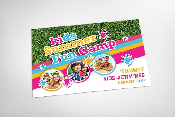 summer camp advertising postcard template