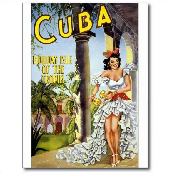 cuba vintage travel tourism ad postcard