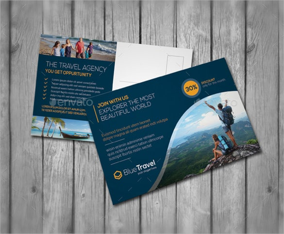 travel advertising postcard template