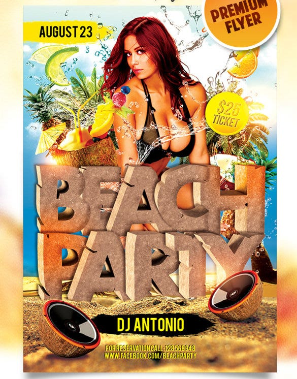 beach party 3 poster psd template download