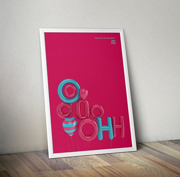 cool 3d typographic poster template download