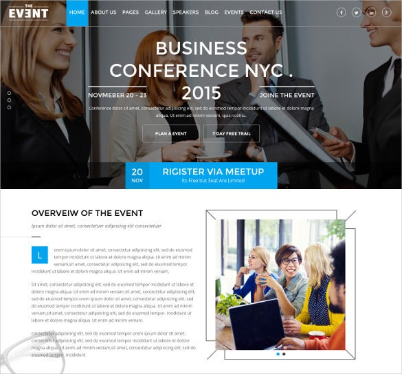 Conference Event Management Website Template