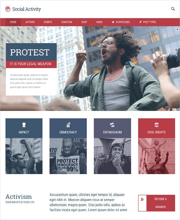 politics activism event wordpress website theme