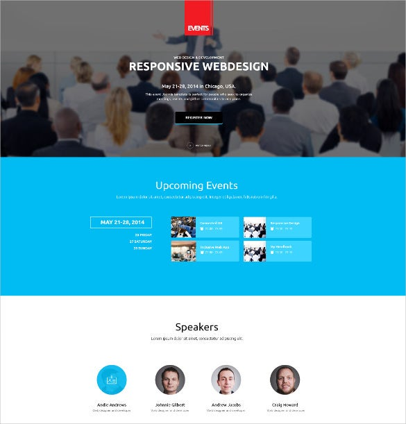 flat responsive events wordpress website theme