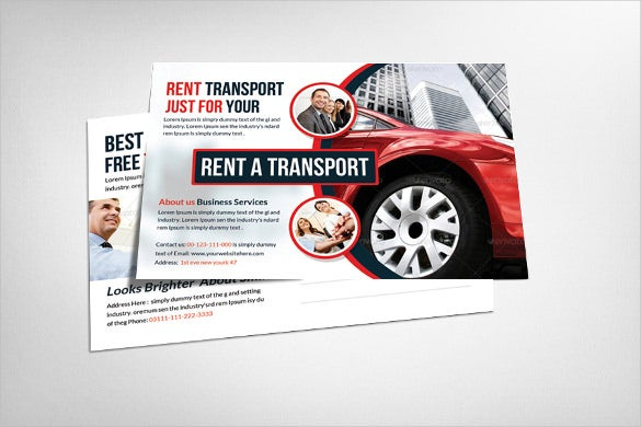 postcard template for renting cars multi business