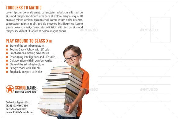 junior school promotion postcard mailing template