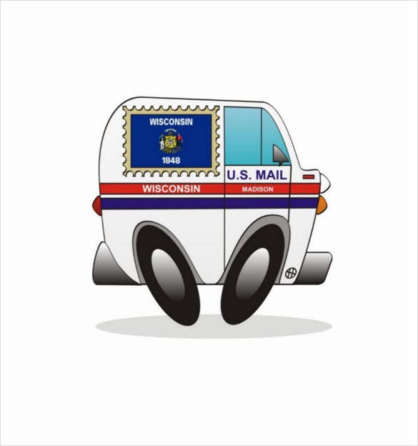 postcard mail truck template