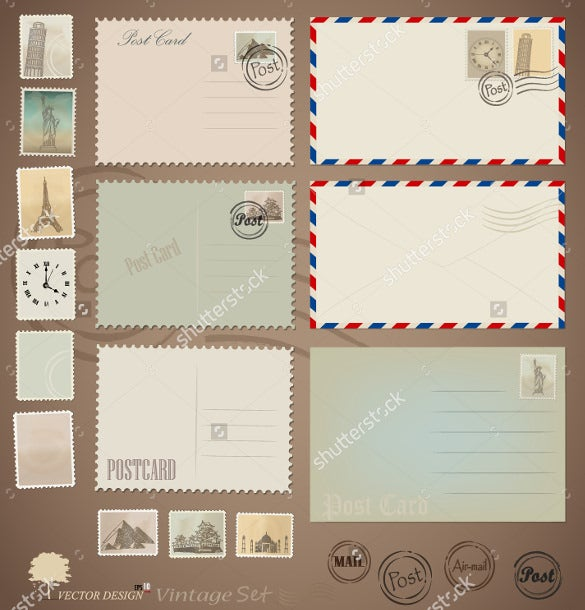 postcard mailing template in vector eps