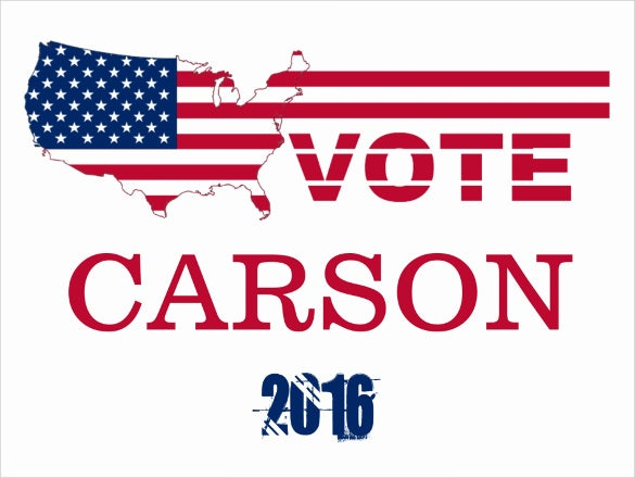 vote candidate carson political postcard template download