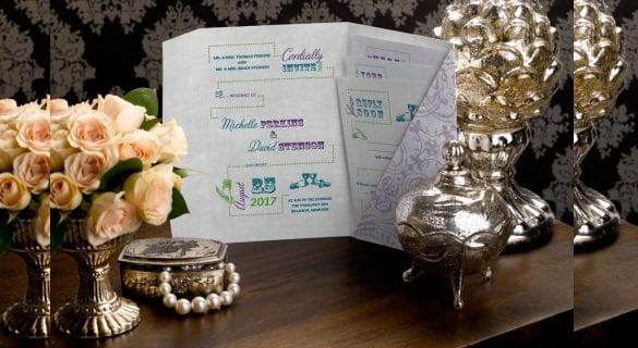 foldover pocket wedding invitation