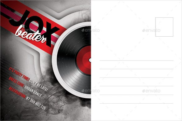 music night party postcard mailing template psd