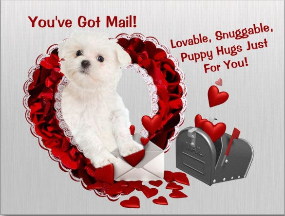 postcard mailing template in heart and puppy
