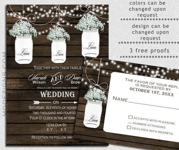 barnwood strings of lights wedding invitation