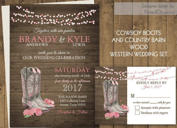 western wedding invitations western wedding invitation 19 psd jpg indesign format 1263