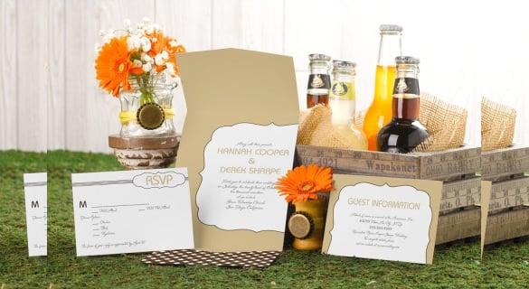 western pocket wedding invitation