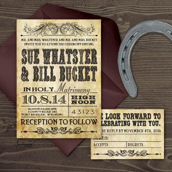 old western feel wedding invitation
