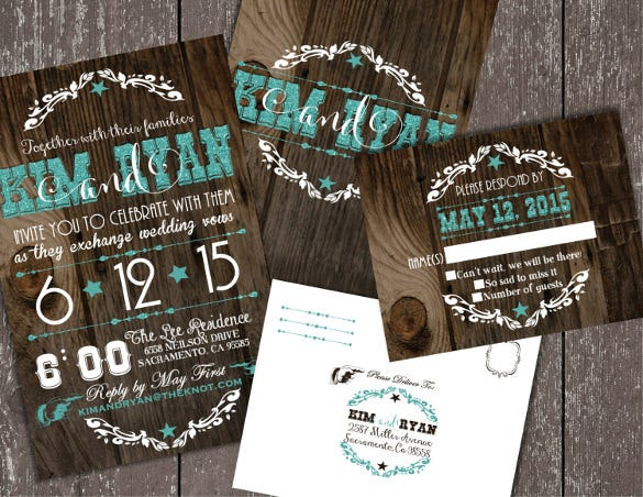 western wedding invitation with envelopes
