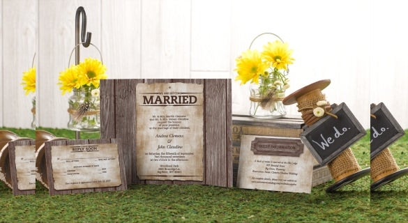 gate fold western wedding with envelopes