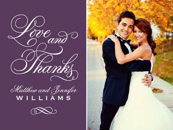 purple thank you wedding invitation