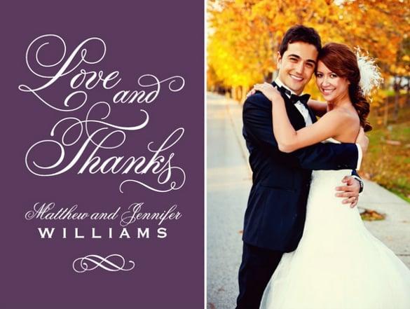purple thank you wedding invitation