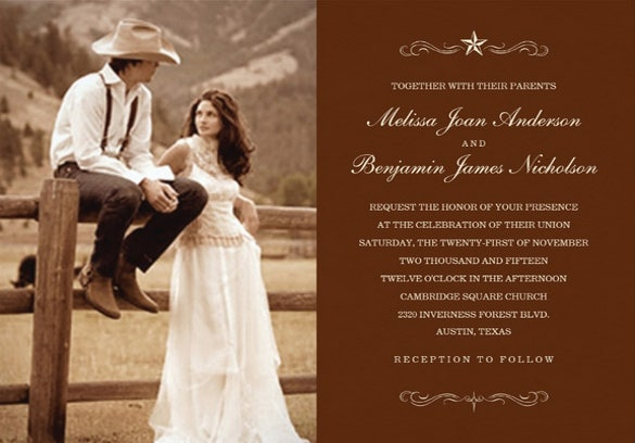 unique western photo wedding invitation