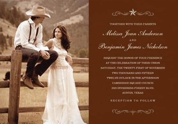 unique western photo wedding invitation