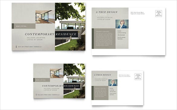 contemporary residence powerpoint postcard template