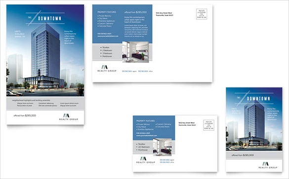 downtown apartment powerpoint postcard template