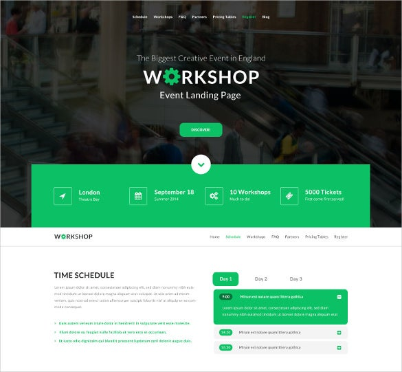 workshop event page psd theme
