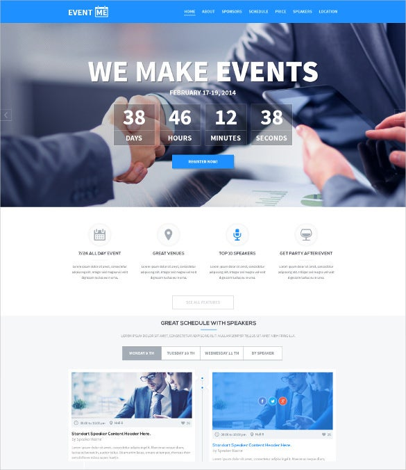 premium one page event manager theme