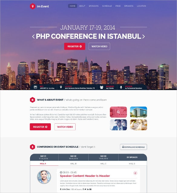 one page business event conference template