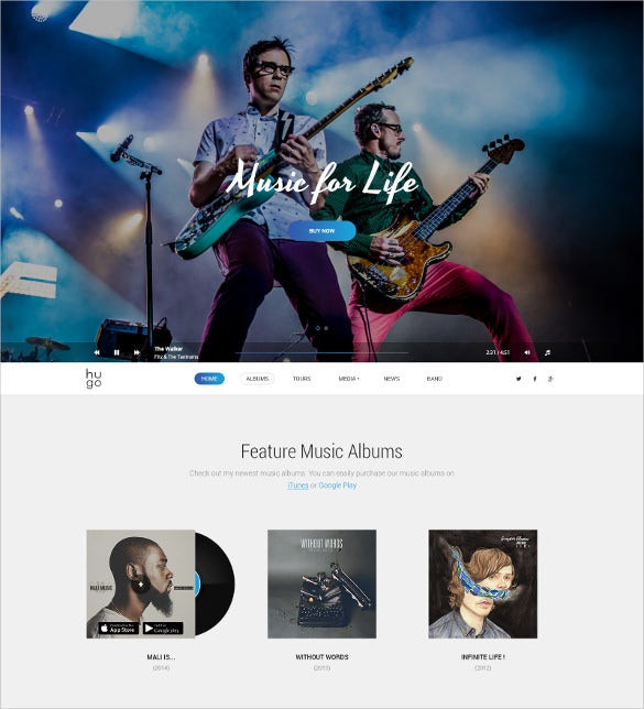music bands psd theme
