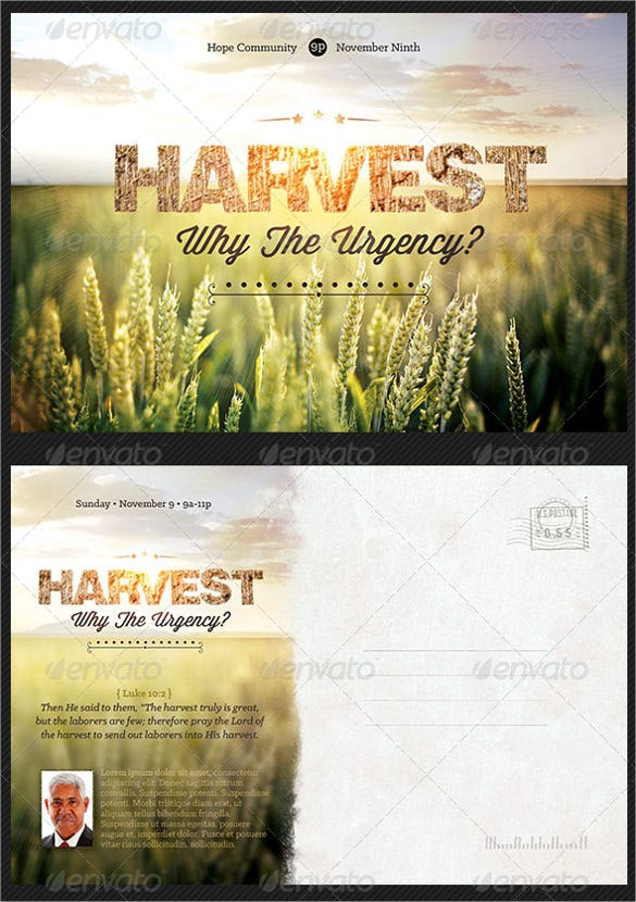 harvest church postcard template