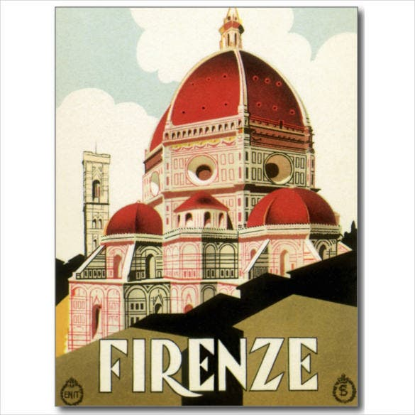 travel florence italy church postcard