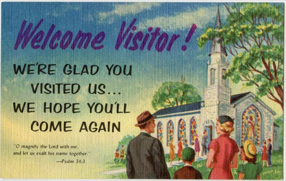 church postcard templte for welcome visitor