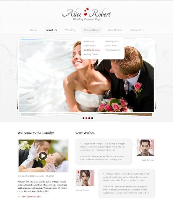 wedding event planner psd template