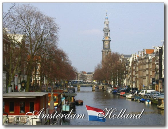 amsterdam western church holland postcard