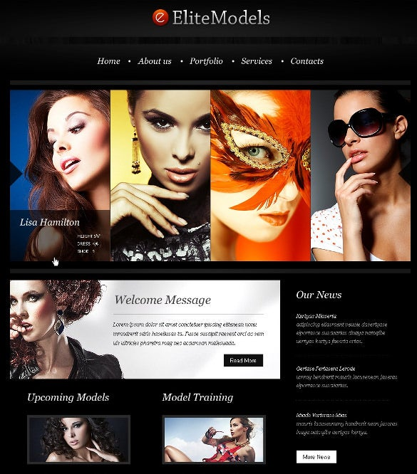 premium model agency event psd template