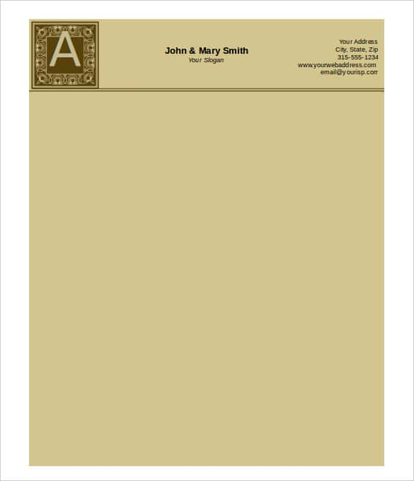 31 word letterhead templates free samples examples format monogrammed letterhead brown template in ms word thecheapjerseys Choice Image