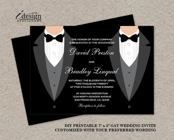 2 men in a black suit wedding invitation