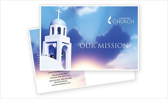 blue church mission postcard template