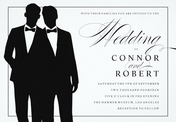 two grooms wedding invitation