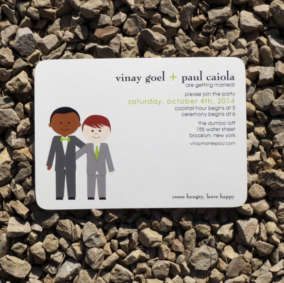 guys modern couple wedding invitation
