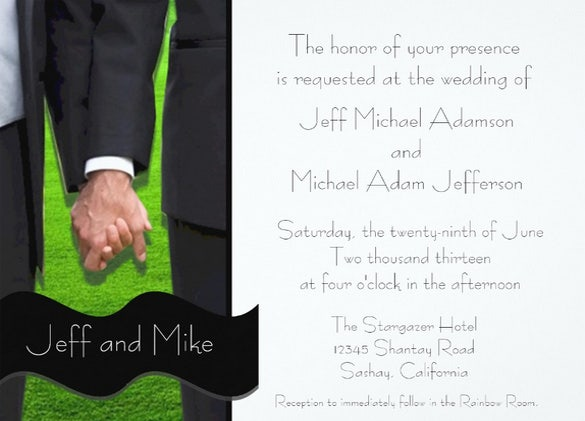 paper based guys wedding invitation